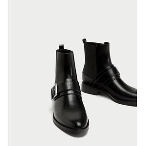 ZARA Black Leather Buckle Ankle Boots NWOT